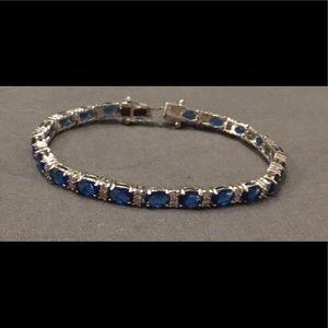 Jewelry - 10Ct. Oval Blue & White Sapphire Tennis Bracelet
